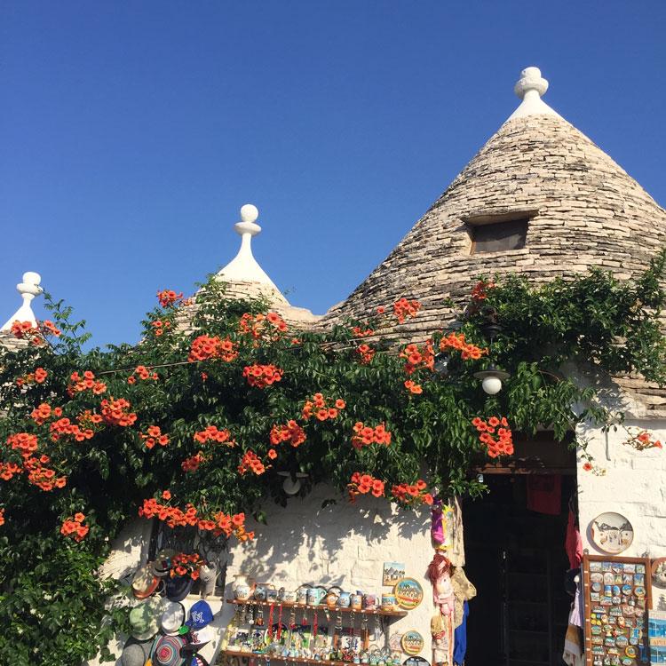 Pelos Trullis de Alberobello em Puglia
